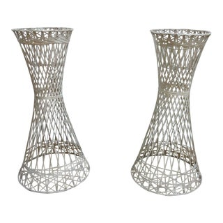 Russell Woodard Spun Fiberglass Outdoor Patio Hour Glass Planters Ice Buckets - a Pair