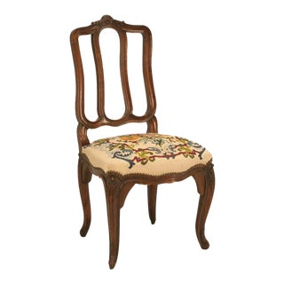 Antique Italian Oak Needlepoint Dining Chairs - Set of 6 Preview