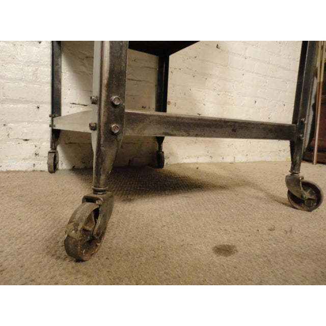 Industrial Rolling Industrial Cart By Lyon Co. w/ Finished Teak Top For Sale - Image 3 of 6