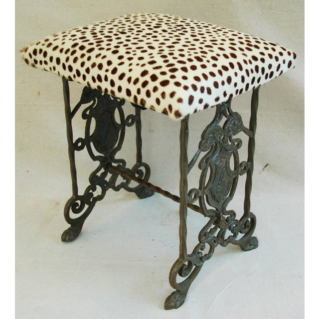 1930s Iron & Cheetah Spotted Cowhide Bench - Image 9 of 11