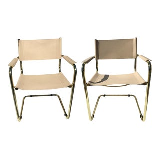 1970s Vintage Mart Stam Brass Cantilevered Chairs - A Pair