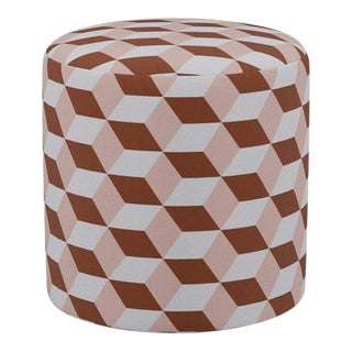Drum Ottoman in Blush Copper Cube For Sale