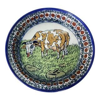 Late 20th Century Vintage Palopo Guetamala Pottery Cow Motif Pie Plate For Sale
