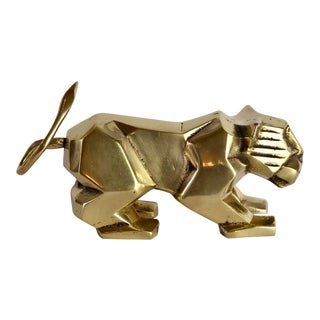 1980s Cubist Dolbi Cashier Brass Lion Sculpture For Sale