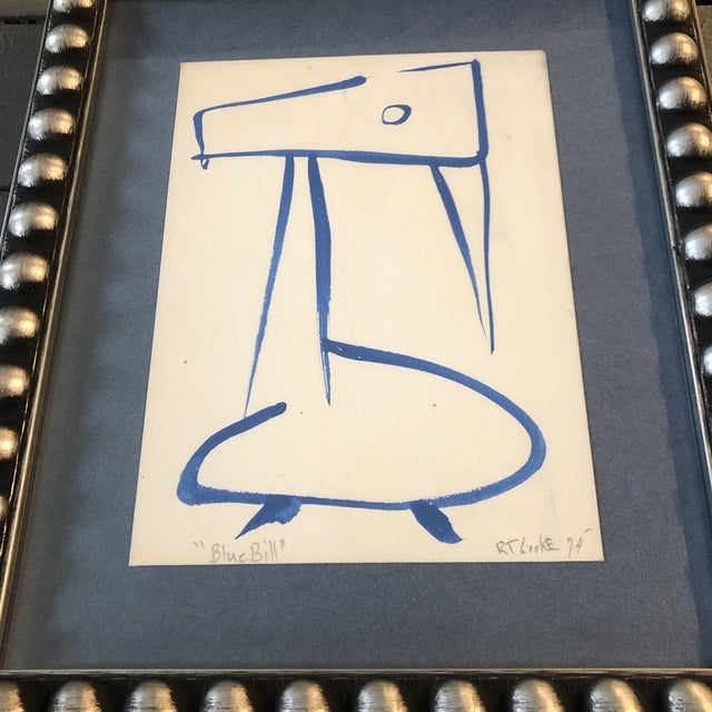 Original painting on paper 5 x 7 on paper laid down on mat board Signed lower right overall size with frame is 9.5 x 11.5