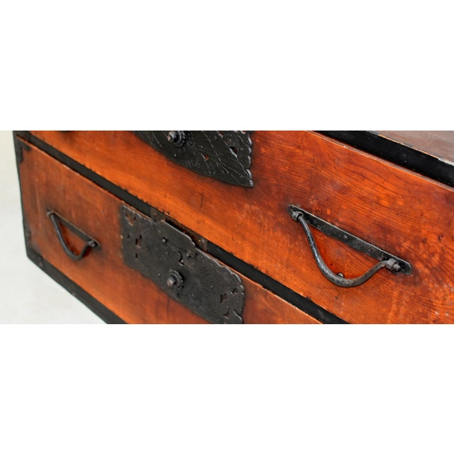Vintage Japanese Low Tansu Chest with Bamboo Crane Hardware For Sale In Los Angeles - Image 6 of 13