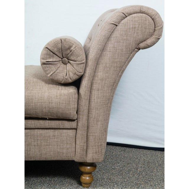 2010s Custom Upholstered Bench With Tufted Rolled Arms For Sale - Image 5 of 7