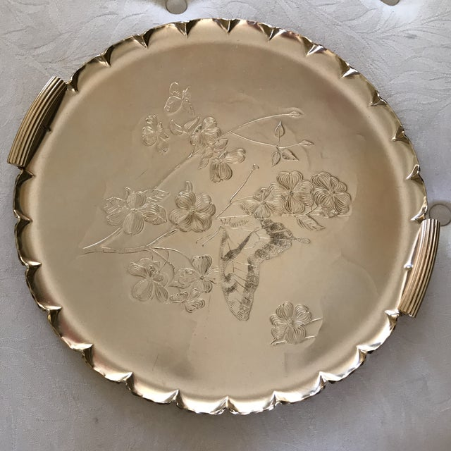 Americana 1990s Americana Rose-Gold Etched Serving and Decor Tray For Sale - Image 3 of 10