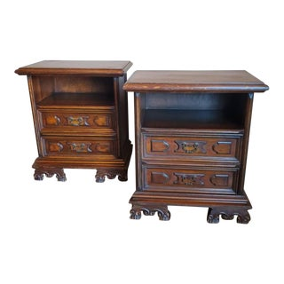 Vintage Italian Carved Walnut Bedside Tables - a Pair For Sale