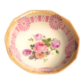 1930s Victorian Floral Peach and Pink Bowl For Sale