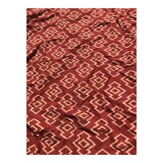 Vintage Wide Panel Persimmon Ikat Linen Drapery Fabric For Sale
