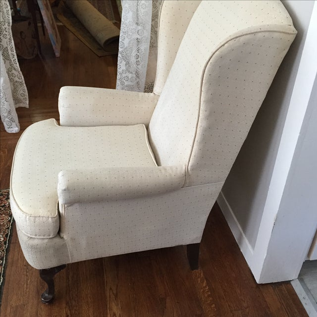 Vintage Ivory Wingback Chair - Image 5 of 8