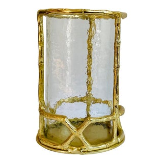 Gold Faux Bamboo Candle Hurricane For Sale