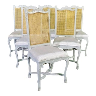 Set of 6 French Cane Back Louis XV Painted Dining Chairs, Circa 1940 For Sale