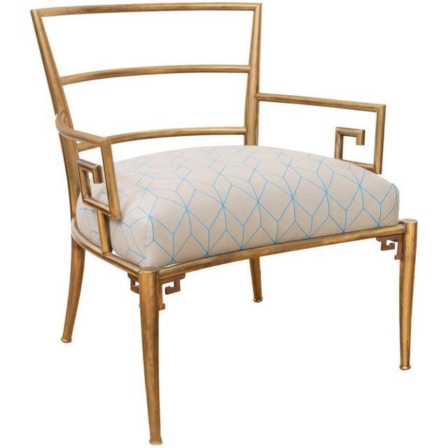 Brass Italian Greek Key Armchair - Image 6 of 6