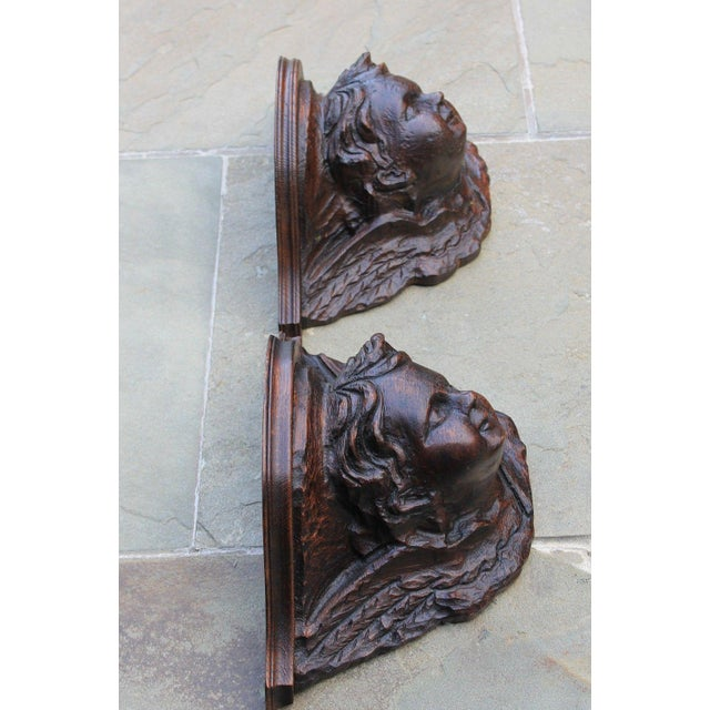 Pair Antique French Oak Wall Shelves Corbels Angels Cherubs Gothic Victorian For Sale - Image 12 of 13