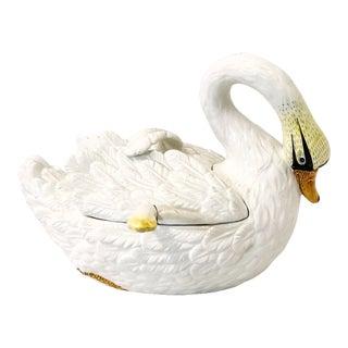 Signed Italian Swan Tureen & Ladle