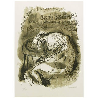 Abraham Rattner (1893-1978) Signed Print with Figure and Verse For Sale
