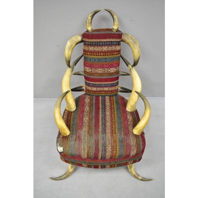 Early 20th Century Antique Upholstered Steer Horn Parlor Chair For Sale - Image 9 of 10