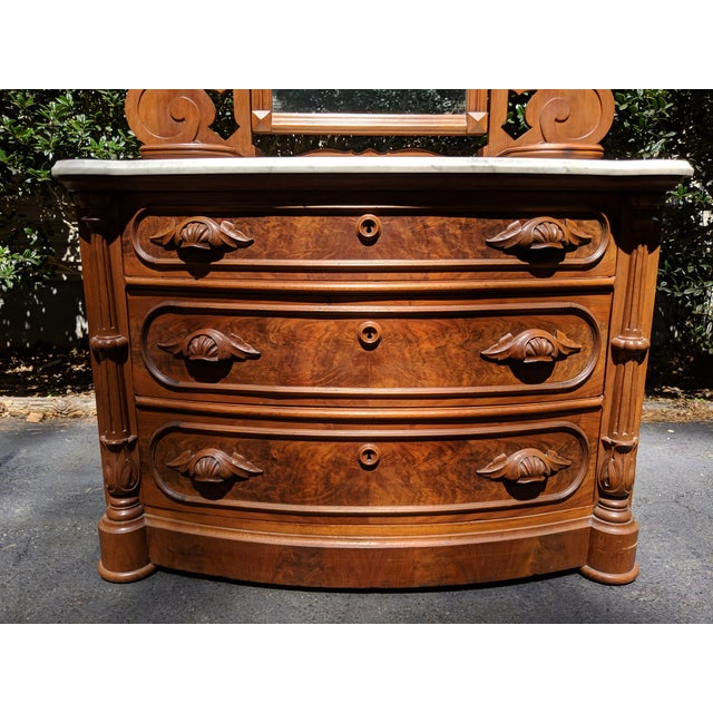 Glass 20th Century Renaissance Revival 3-Drawer Marble Top Walnut Dresser & Vanity Mirror For Sale - Image 7 of 13