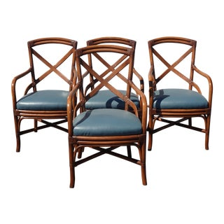 Set of Four Vintage French Country Bamboo Blue Leather Chairs W Leather Straps For Sale