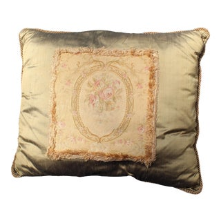 19th Century Antique French Aubusson Pillow For Sale