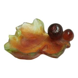 Mid 20th Century Daum Pate De Verre Art Glass Mint Dish For Sale