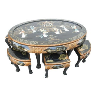 Vintage Asian Inlayed Mother of Pearl Coffee Table with Stools - 7 Pieces For Sale