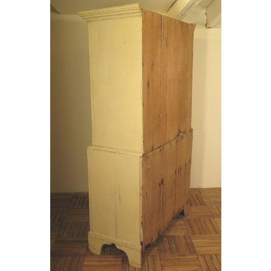 Boho Chic Antique English Painted Four Door Cupboard For Sale - Image 3 of 6