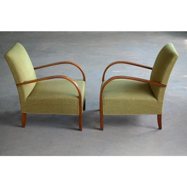 Early Midcentury Danish Art Deco Low Lounge Chairs- A Pair For Sale In New York - Image 6 of 12