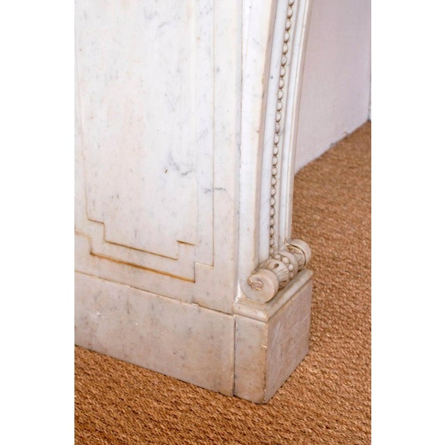 Brass 19th Century Louis XVI Style Carrara Marble Fireplace Surround / Mantel For Sale - Image 7 of 13