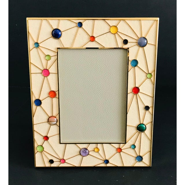Ivory shagreen with multi-color stones and gold-plated picture frame by Fabio Ltd Height: 10.5 inches / Width: 8.5 inches...