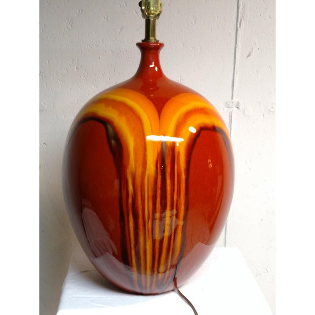 Retro Vintage Orange Ceramic Table Lamp - Image 2 of 6