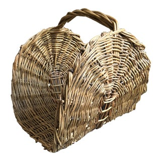 Vintage Wicker Log Holder For Sale