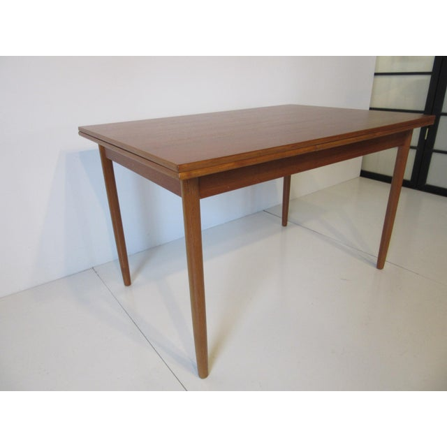Danish Modern Extendable Teak Dining Table For Sale - Image 4 of 8
