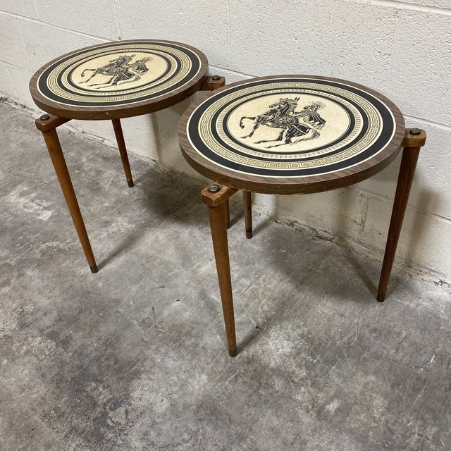 Boho Chic Greek Motif Wood Drink Tables - a Pair For Sale - Image 3 of 11