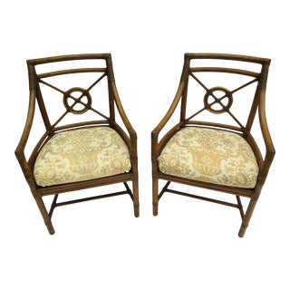 McGuire Rattan Armchairs W/Fortuny Fabric - Set of 4 For Sale