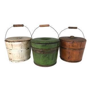Vintage Woodenware Buckets- Set of 3 For Sale