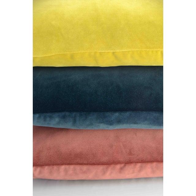 Art Deco FirmaMenta Italian Coral Pink Velvet Lumbar Pillow For Sale - Image 3 of 5