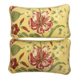 Custom Floral Botanic Print Pillows - A Pair For Sale