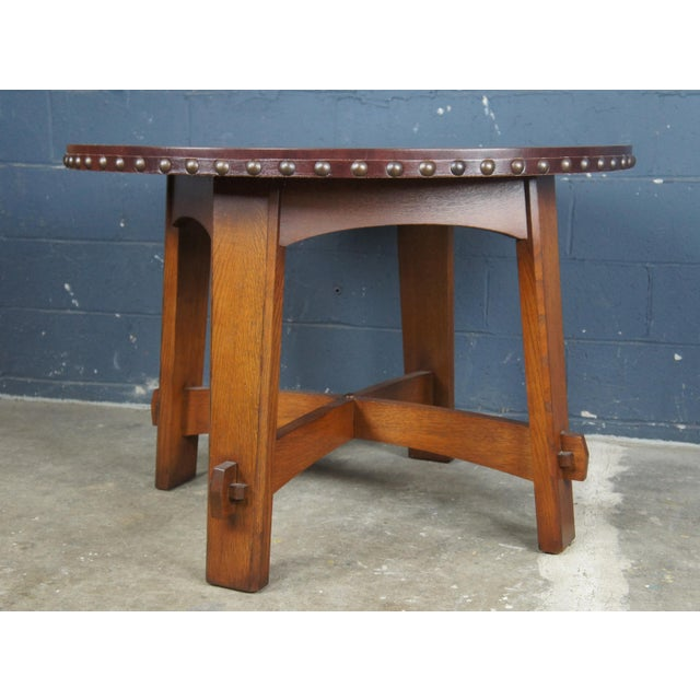 Tan Mission Stickley Commemorative Library Center Table For Sale - Image 8 of 13