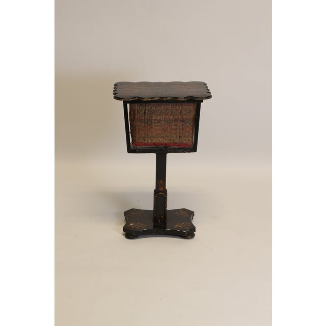 Victorian paper mache sewing box. A cloth upholstered basket slides out to conceal all of your sewing materials (or...