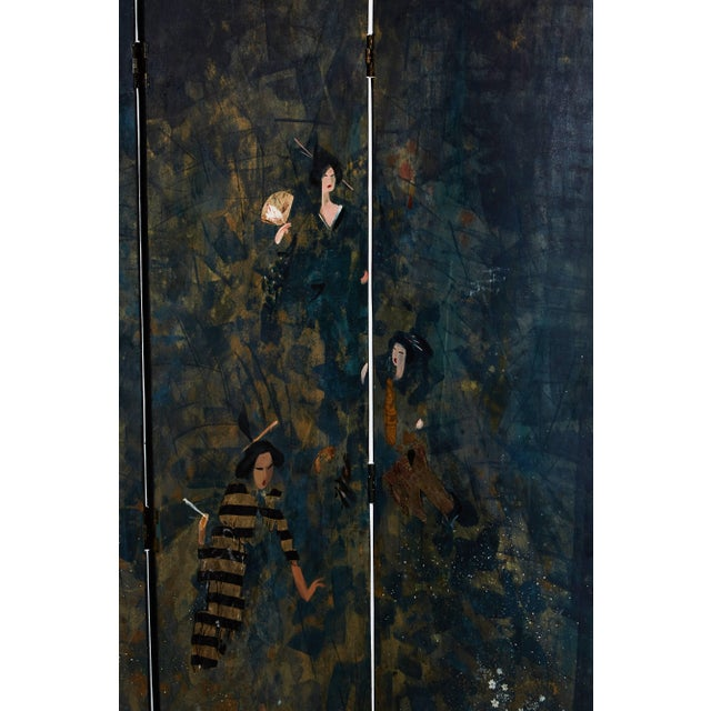Paravento Screen Made by Eugene Klementieff in the Japonisme Style For Sale - Image 4 of 8