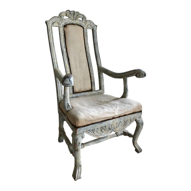 Swedish Baroque Armchair in Original Paint For Sale