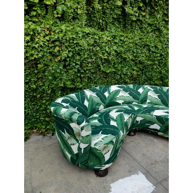 Textile Palmier Curved Art Deco Sofa For Sale - Image 7 of 11