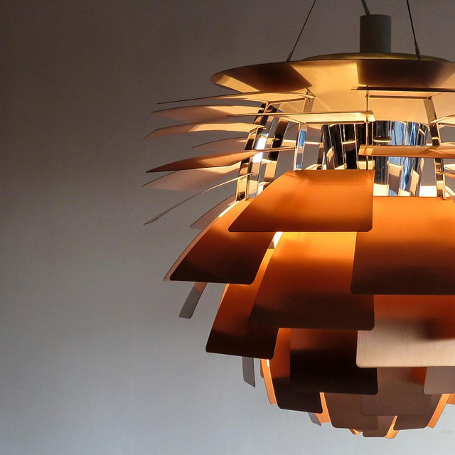 1950s Large Ph Artichoke Copper Lamp by Poul Henningsen For Sale - Image 9 of 11
