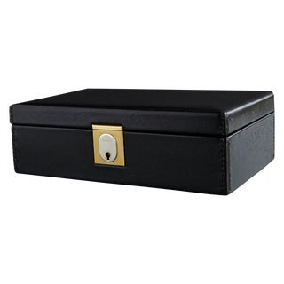 Gucci Black Leather and Red Velvet Jewelry Box From the Collection of Ann Turkel For Sale