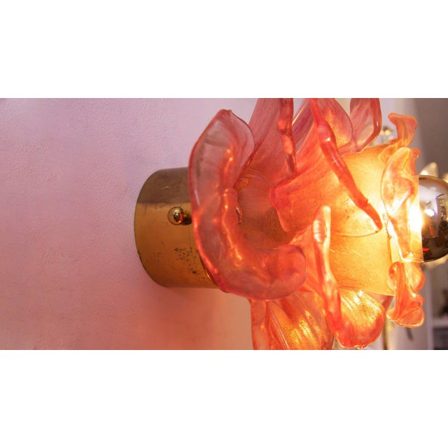 1950s Pair of Labeled Barovier and Toso Flower Glass Wall Lamps / Sconces For Sale - Image 5 of 9