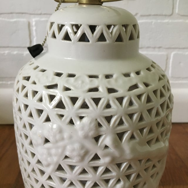 Asian Pierced Blanc De Chine Accent Lamp For Sale - Image 3 of 7