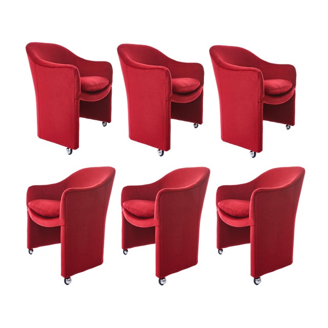 Milo Baughman for Thayer Coggin Barrel Dining Chairs in Mohair - Set of 6 For Sale
